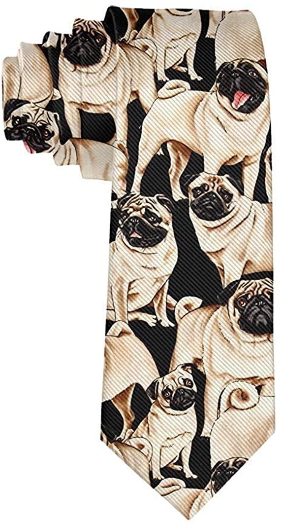 Tie Funny Neckties Pug Dog Black Fashion Wide Novelty Neck Ties For Men teen