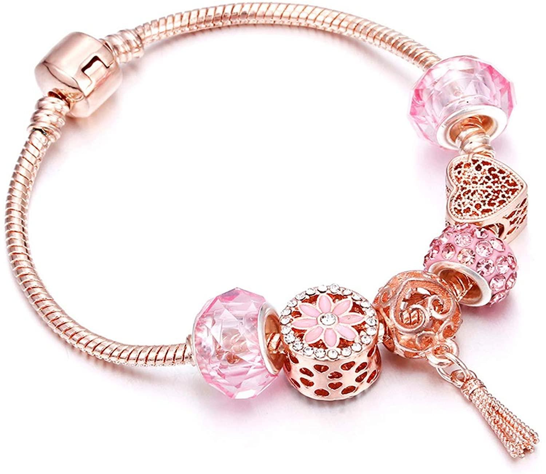 Rose Gold Bracelet Cherry Blossom Tassel Ball Crystal Bead Pendant Charm Trend Bracelets & Bangles For Women Jewelry Girl Gifts,tassel,21cm