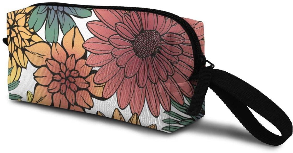 T-JH Sunflower Mini Makeup Bag,Portable Cosmetic Bag,Organizer,Toiletry Handbag,Sewing Kit,Storage Pouch for Women Purse