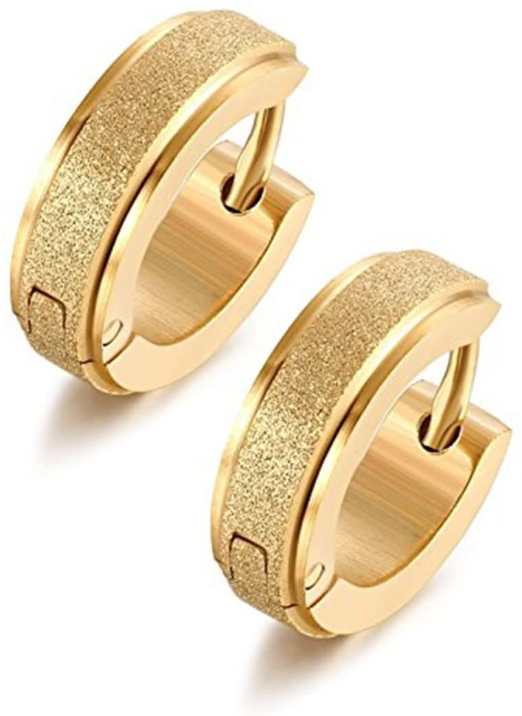 Stainless Steel Womens Hoop Earrings for Men Huggie Ear Piercings Hypoallergenic 20G (1pair Gold)