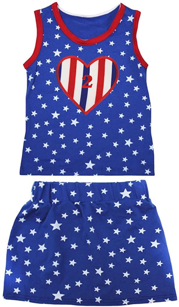 Petitebella 2nd RWB Heart Patriotic Stars Red Cotton Shirt Blue Skirt Set 1-8y
