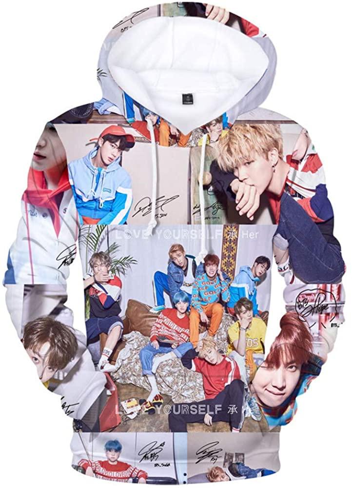 HelloTem BTS 3D Printed Unisex Hoodie Bangtan Boys Printed Pullover Novelty Sweatshirt