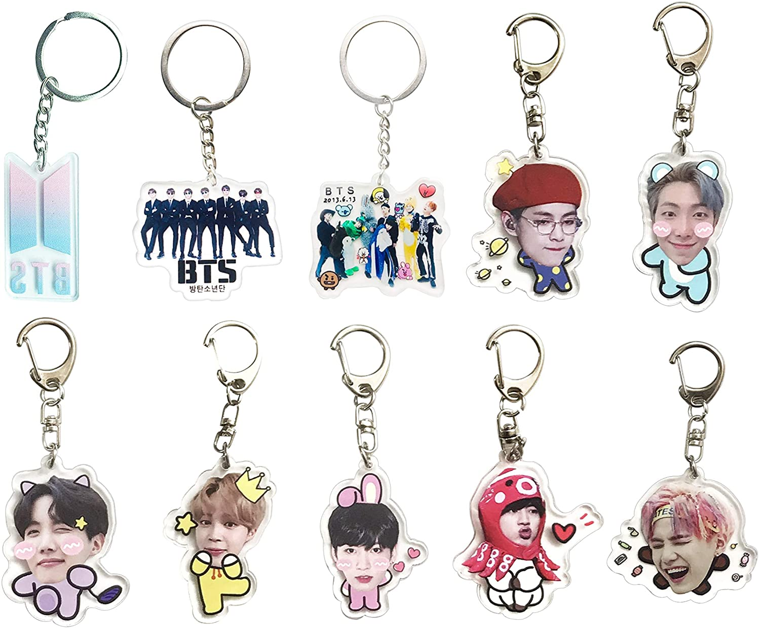 BTS Cartoon Acrylic Keychain Bangtan Boys Key Ring Hot Gift for Army,Transparent, Double-Sided Visible (BTS-birth)