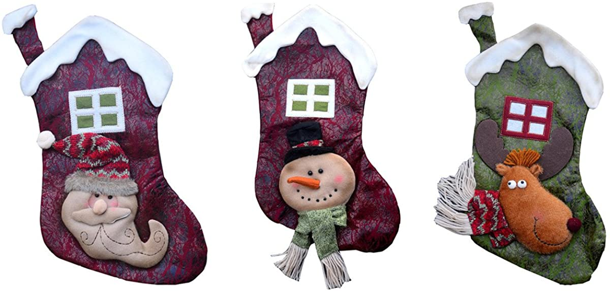 3 Pack Christmas Stocking Socks 16.9 Inches 3d Snowman Santa Claus Reindeer Cabin