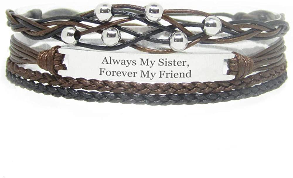 Miiras Family Engraved Handmade Bracelet - Always My Sister, Forever My Friend - Black - Made of Braided Rope and Stainless Steel - Gift for Sister