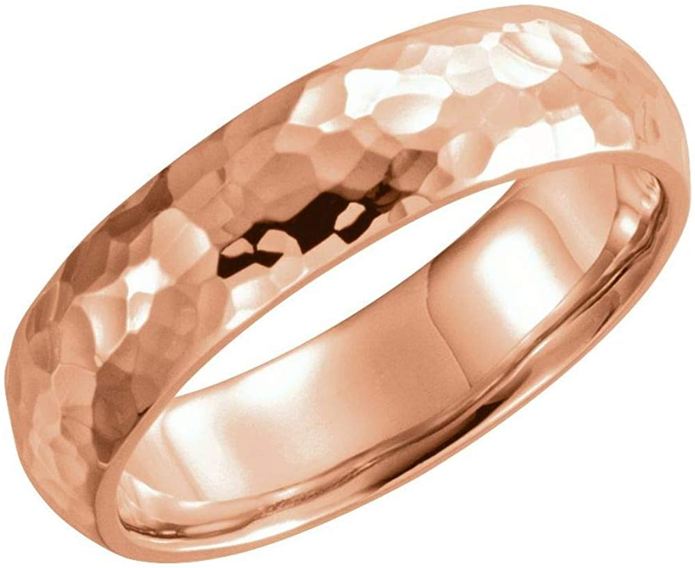 Bonyak Jewelry 18k Rose Gold 6mm Half Round Band with Hammer Finish - Size 11