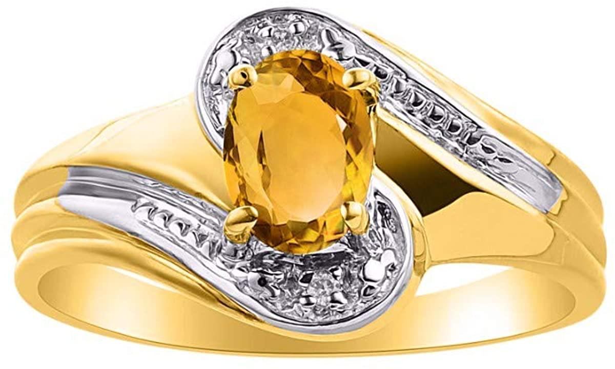 RYLOS Simply Elegant Beautiful Yellow Topaz/Citrine & Diamond Ring - November Birthstone