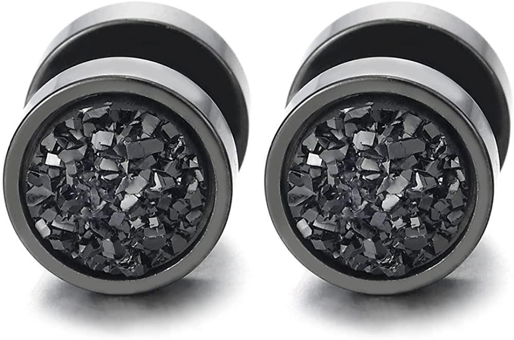 10mm Women Mens Black Circle Stud Earrings Black Glitter, Steel Cheater Fake Ear Plugs Gauges Tunnel