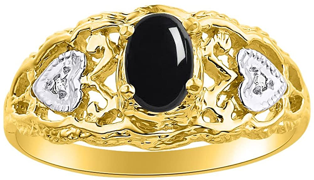 Diamond & Onyx Ring Set In Yellow Gold Plated Silver Designer Hearts