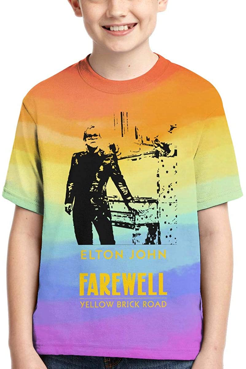 Elton Farewell Tour Yellow Brick John T Shirt Boy's Kids Short Sleeve Crew Neck