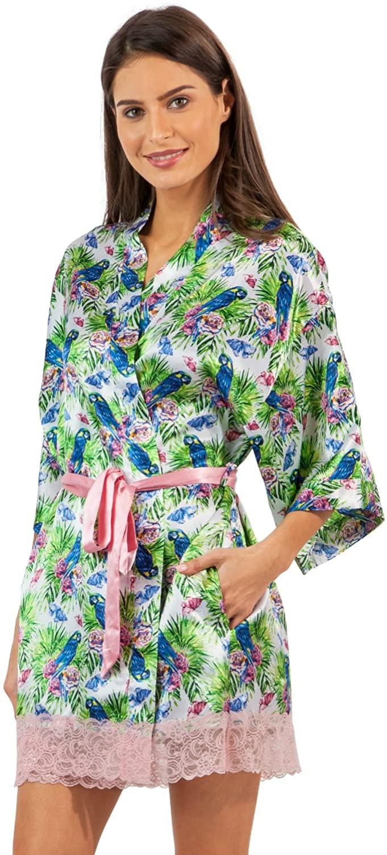 Ashford & Brooks Women's Satin Kimono Bridesmaid Short Robe Silky Bathrobe with Pockets