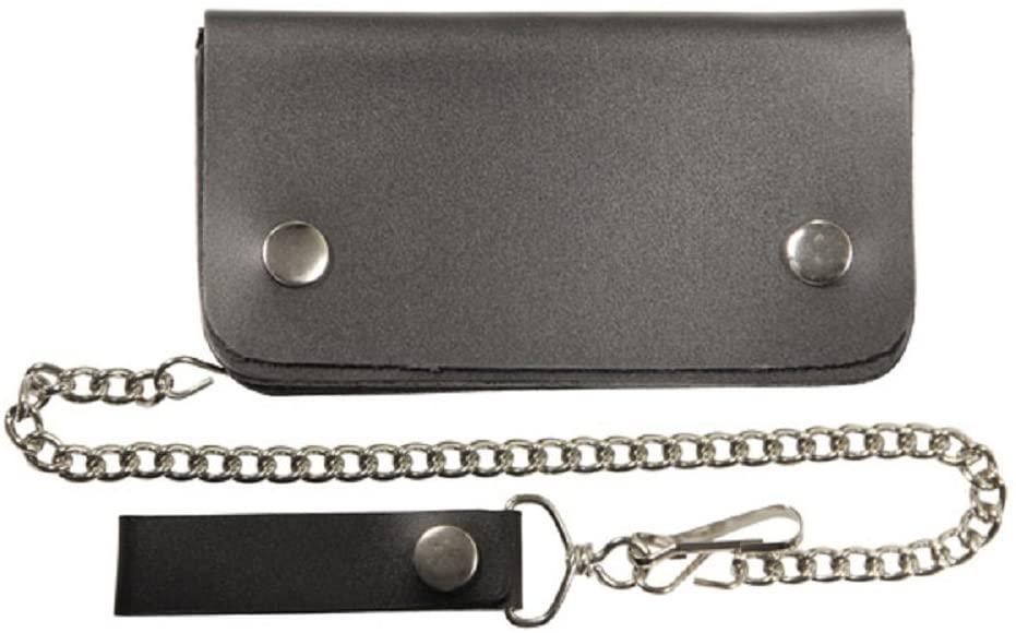 Black Biker Leather Billfold Chain 8 Wallet