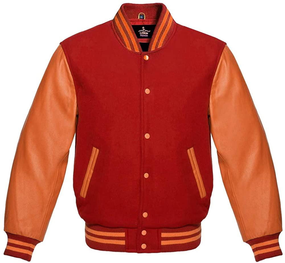Varsity Jacket Baseball Letterman Bomber School College Red Wool & Genuine Orange Leather Sleeves
