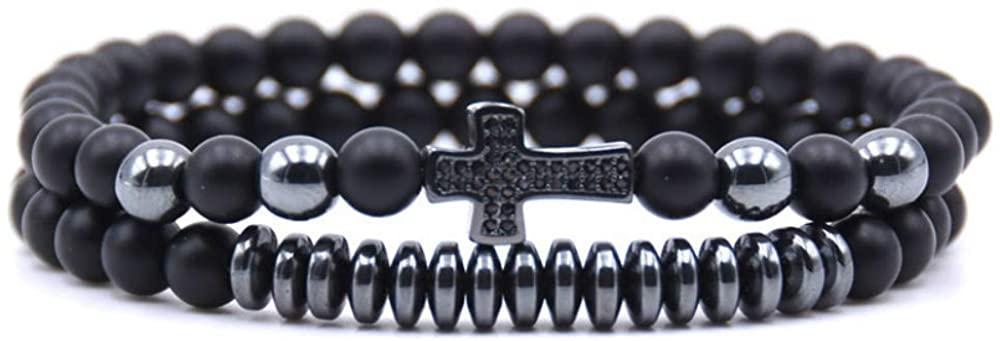 USUASI 2Pcs Charm Mens&Womens Beaded Bracelet Handmade Bead Lava Stone Cross 6mm