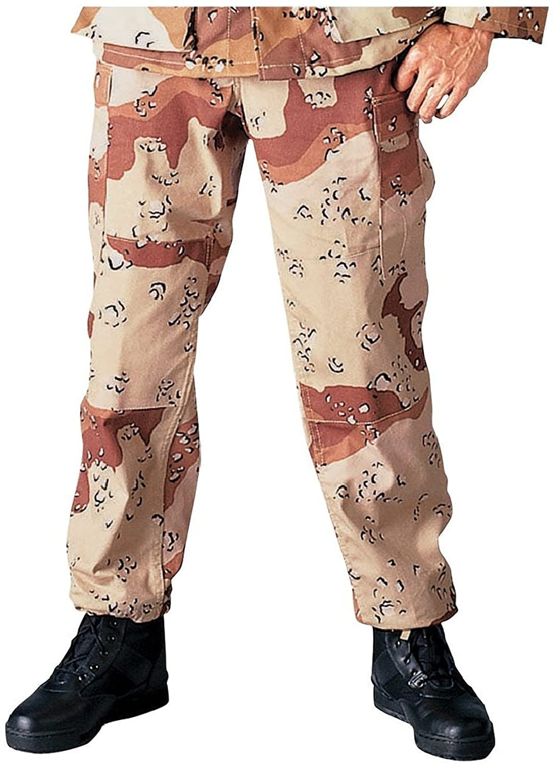 Camouflage Military BDU Pants, Army Cargo Fatigues (Desert Camouflage, Size Medium)