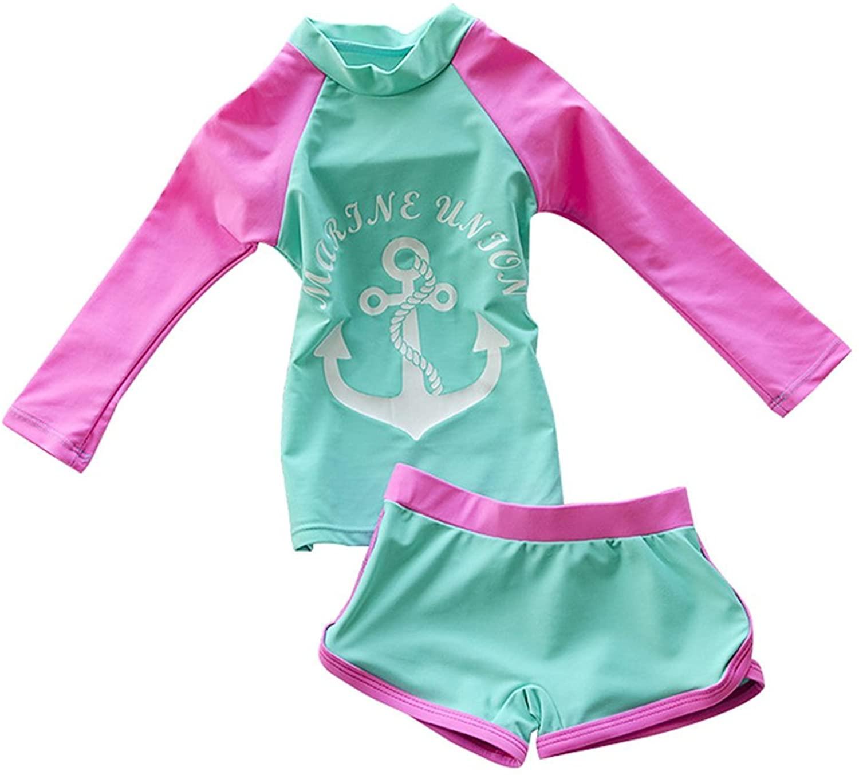 Jojobaby Kid Girl's Two-Piece Long Sleeve Swimsuits Bathing Suit UPF 50+