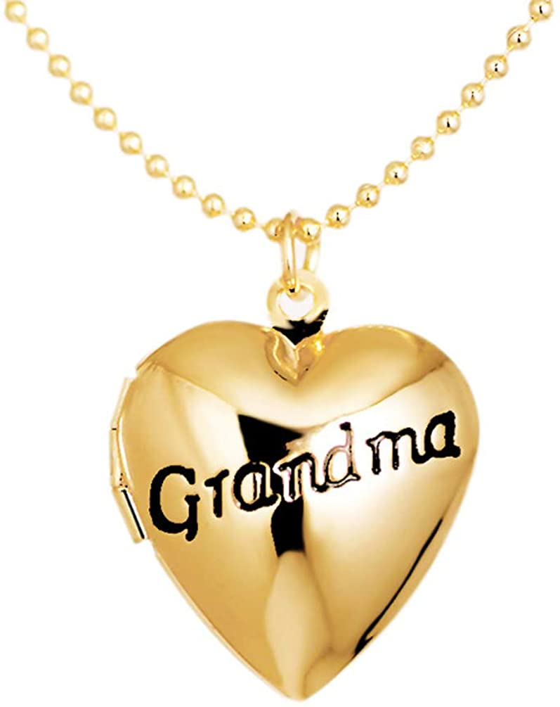 Photo Locket Necklace Family Child Pictures Letter Grandma Heart Pendant Girls Women