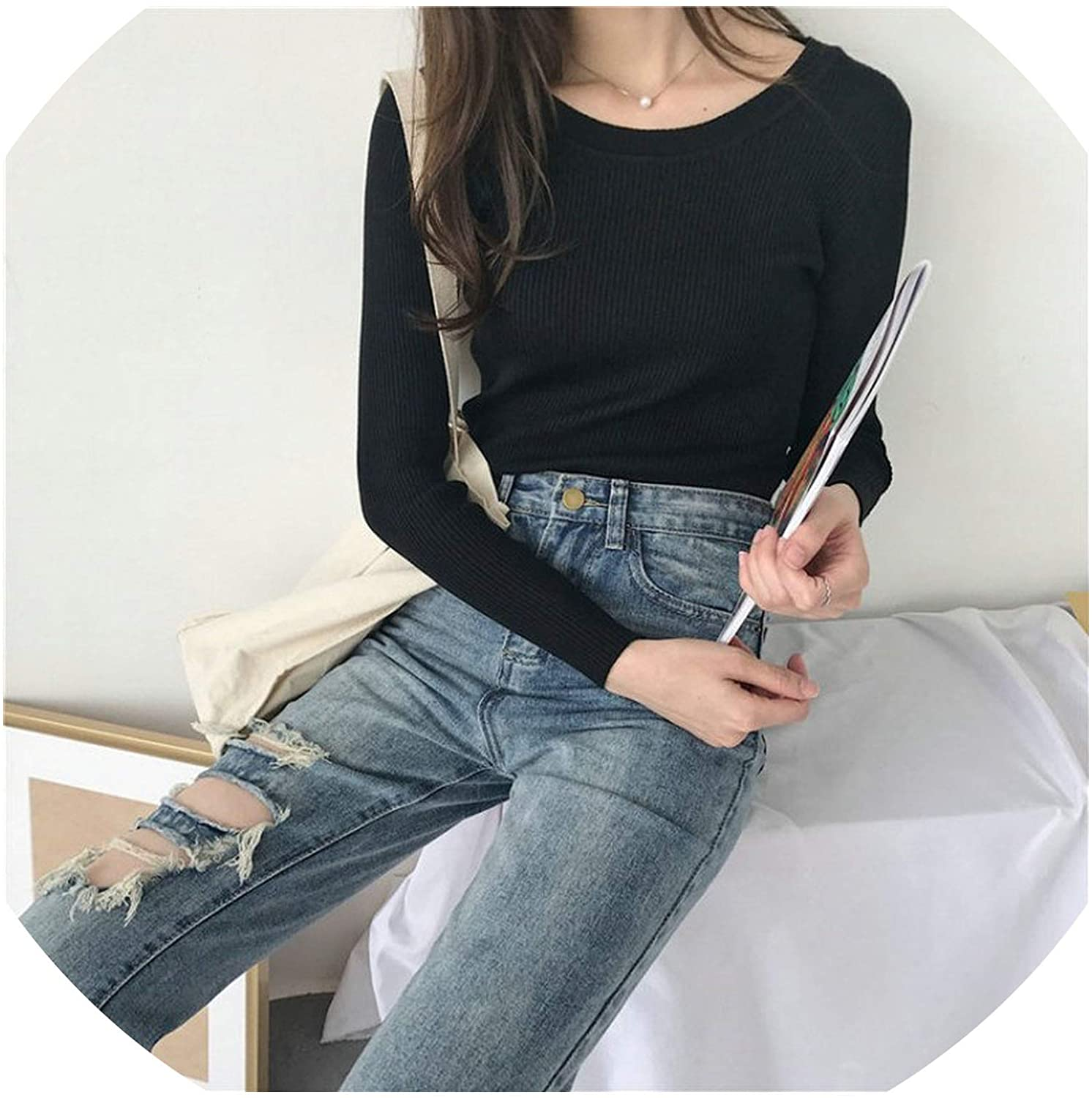 Knitted Sweater Women Clothes Slim Pullover Tops Casual Winter Thin Sweaters Pull Autumn