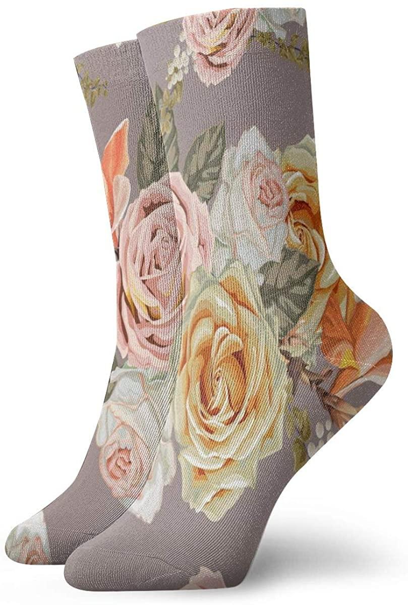 Crew Socks Retro Rose Flower Floral Brown Novelty Casual Socks for Women Men Big Boys Girls Unisex