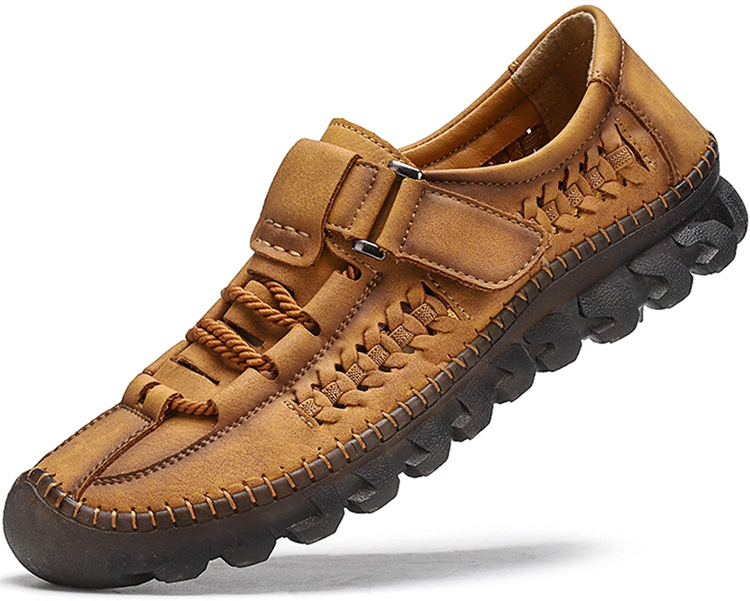 Feichi Mens Casual Shoes Slip-On Loafer Handmade Leather Walking Boat Shoes Breathable Comfortable Driving Loafers