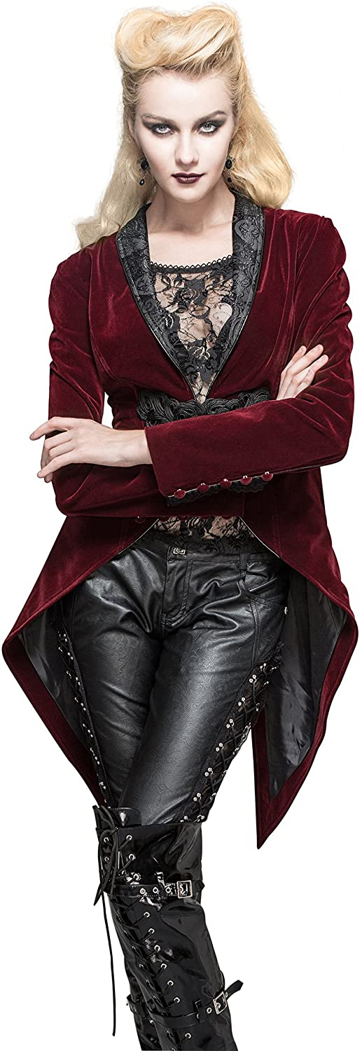 HaoLin Steampunk Jacket Burgundy Victorian Gothic Punk Pirate Renaissance Blouse Tailcoat Warm Coats for Women