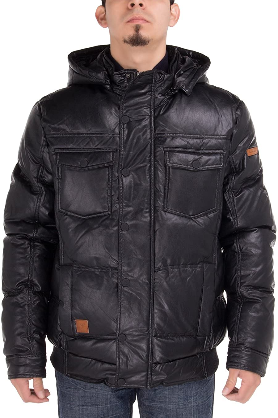 Luciano Natazzi Men's Puffer Coat Tec Removable Hooded Bomber Down Jacket
