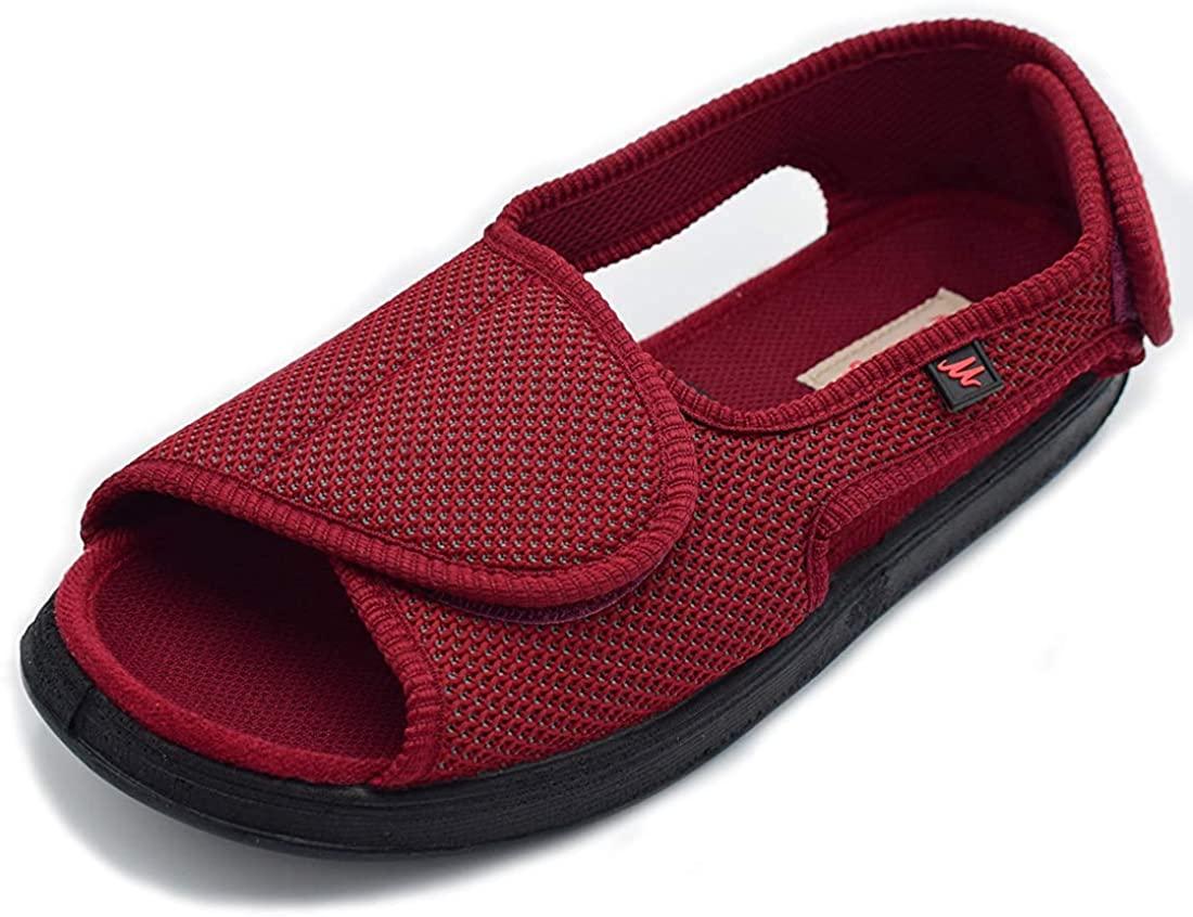 Mei MACLEOD Men's Wide Width House Shoes with Adjustable Closure Open Toe House Slippers for Hammer Toe Diabetic Swollen Feet Indoor