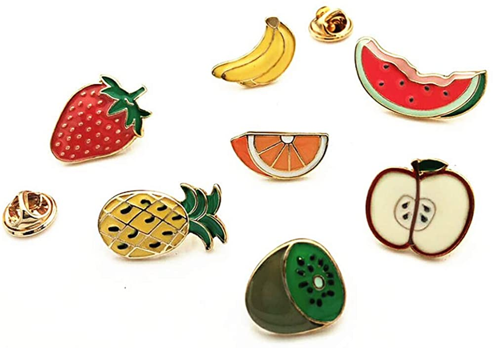 CAROMAY 7 PC Enamel Lapel Pins Set Funny Cartoon Fruit Badge Corsage Collar Brooch Strawberry Banana Orange Cute Friends Gift