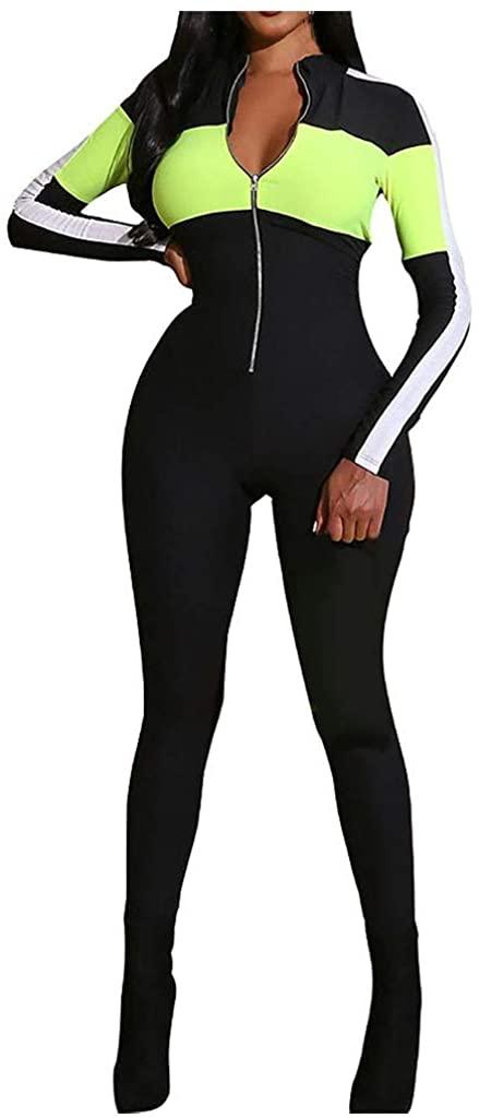 VEZAD Store Women Zipper Jumpsuits Slim Fit Deep V Neck High Waisted Long Pants Romper