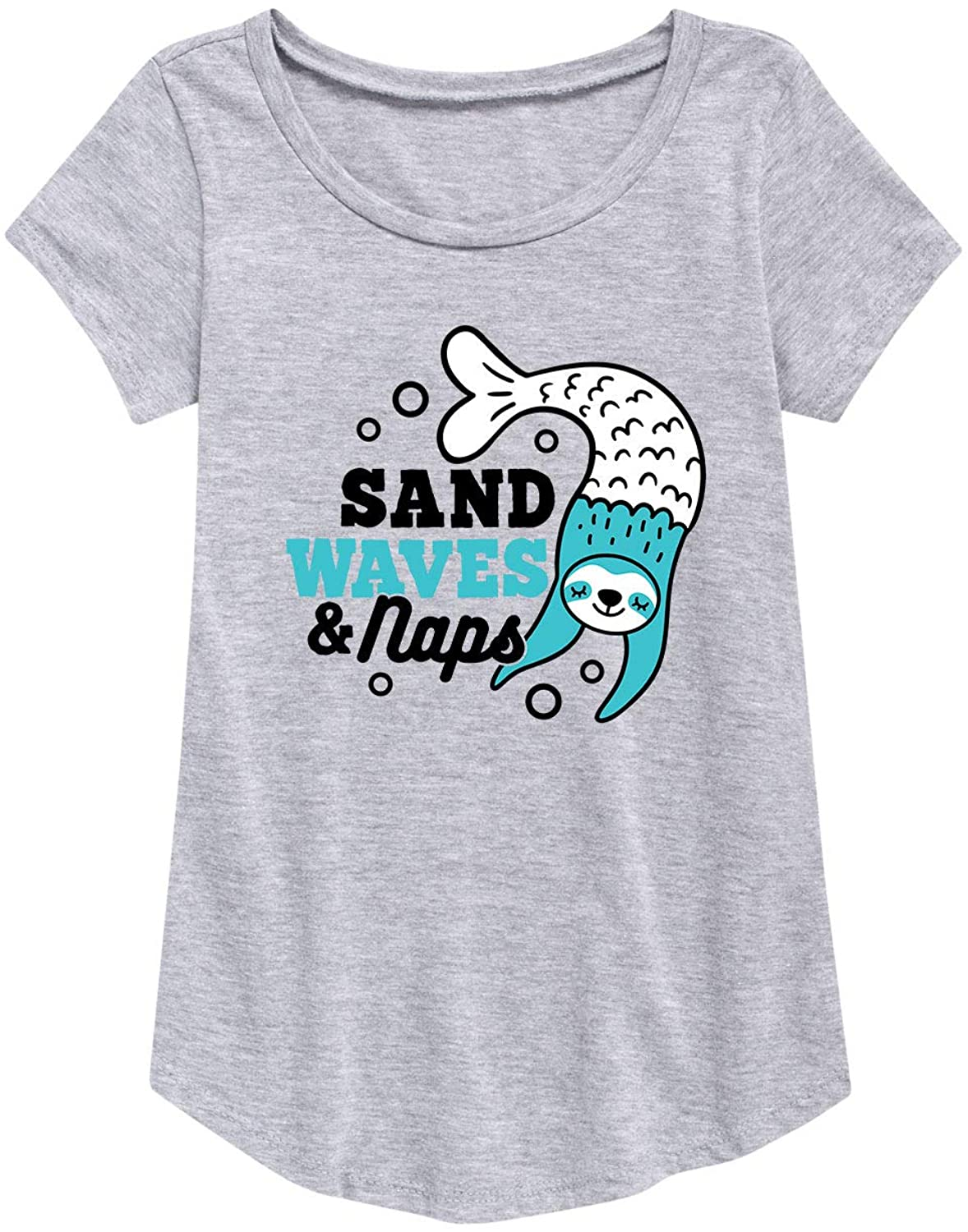 Sand Waves Naps Sloth - Youth Girl Short Sleeve Curved Hem Tee