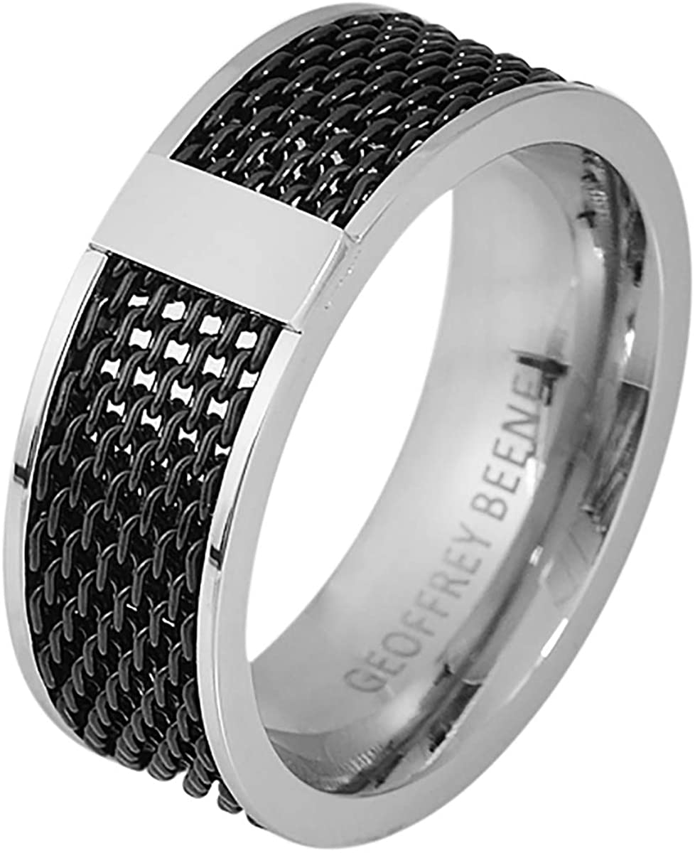 Geoffrey Beene Mens 8mm Stainless Steel Polished Edge Mesh Ring