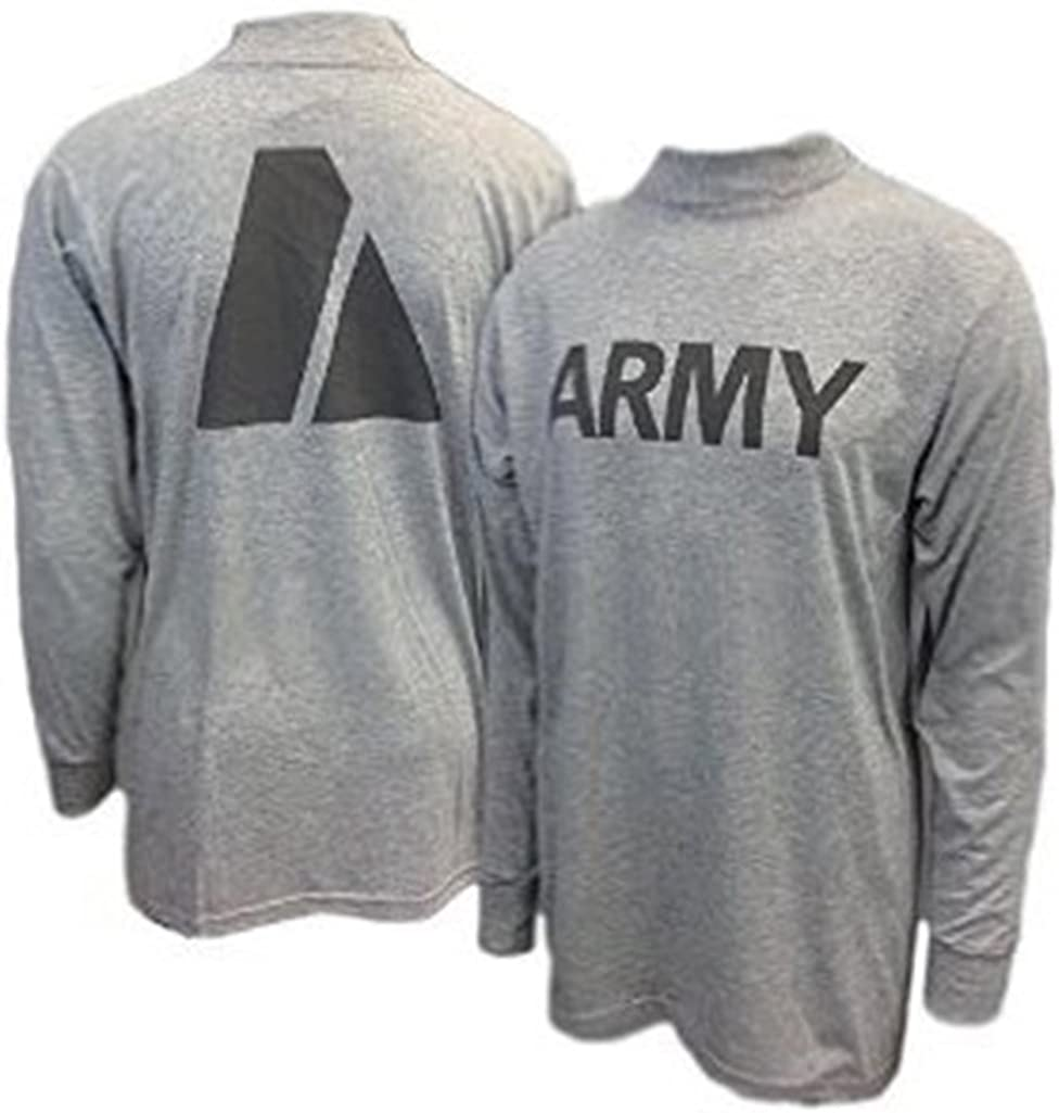 Military Uniform Supply New US Army Grey Moisture Wicking PT PTU Long Sleeve T-Shirt