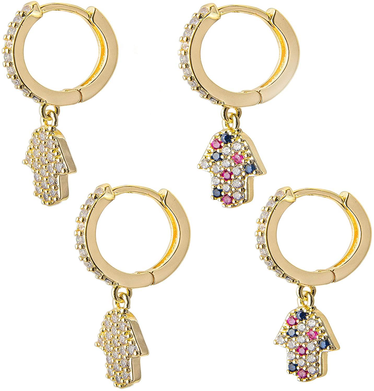 GRACIA&CO 14k Gold Huggie Hoop Earrings - Mini Gold Hoops for Women Girls and Men Small Dangle Earings 2 Pack