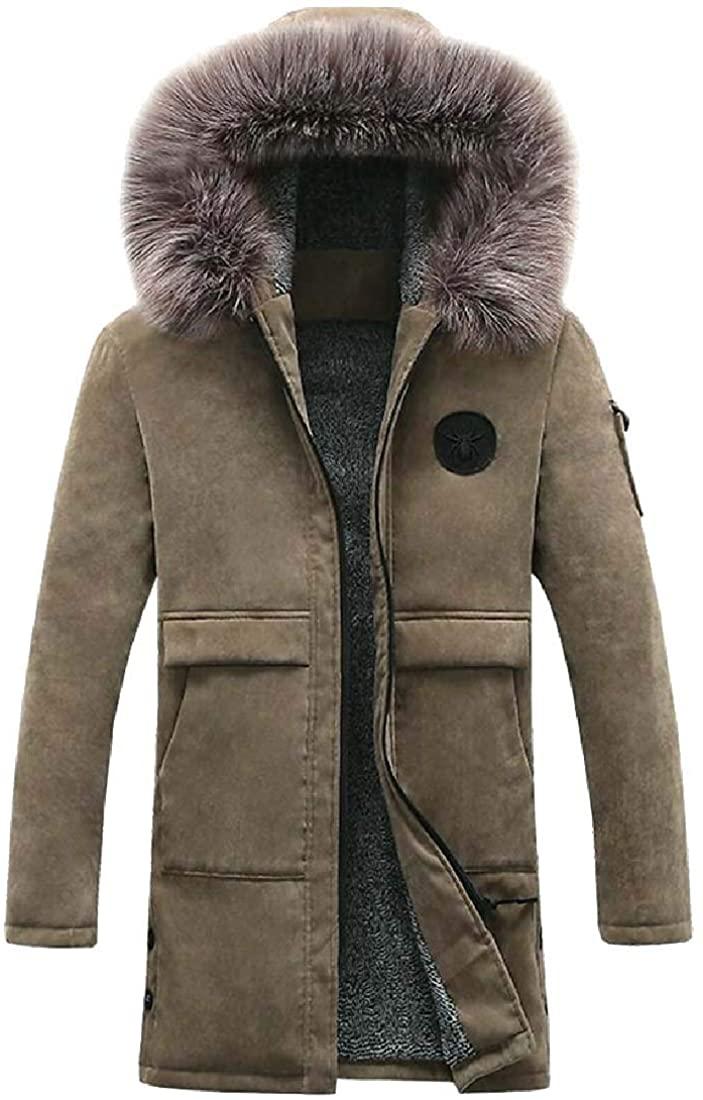 ouxiuli Men's Faux Fur Hooded Mid Length Fleece Fall Winter Outer Wear Parka Jacket