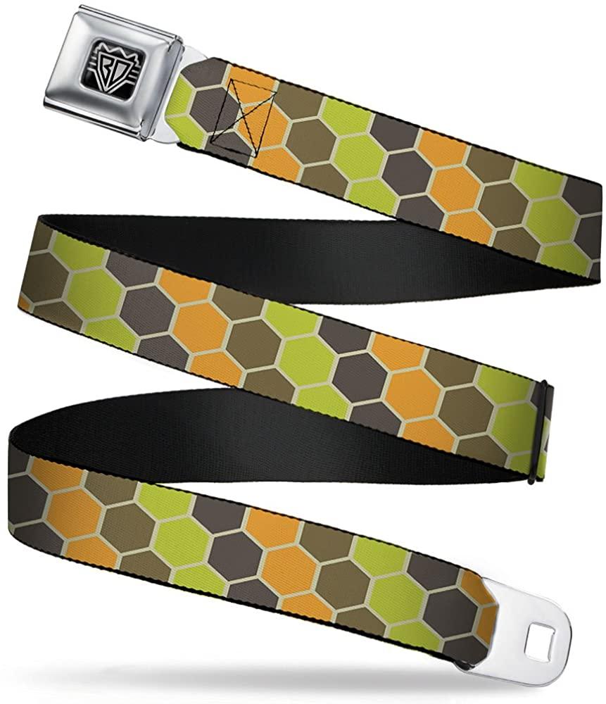 Buckle-Down Seatbelt Belt - Honeycomb Greens/Orange - 1.5
