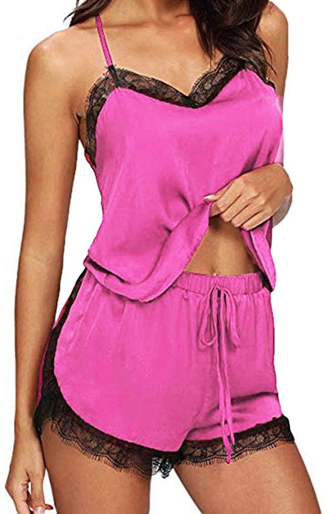 terbklf Women Sexy Lace Trim Lingerie Pajamas Underwear Hot Nightwear Babydoll Pajamas Set Faux Satin Silk Sleepwear