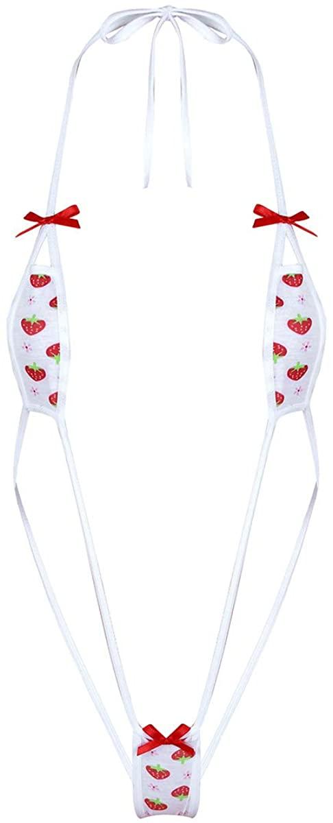 ranrann Women's Strawberry Printed Mini Bikini Lingerie Set Halter Unlined Bra Top with G-String Briefs