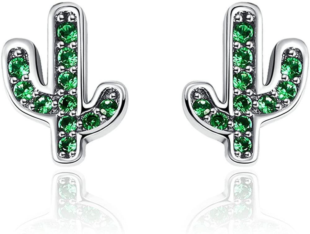 Everbling Cactus Green CZ 925 Sterling Silver Stud Earrings