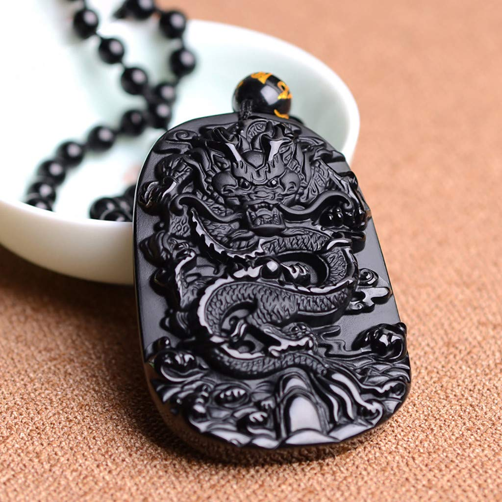 Gotian Obsidian Carving Dragon Pendant Necklace, Natural Jewelry Lucky Amulet Black Dragon Pendant Necklace Obsidian Carving, Great Gift for Your Family and Friends