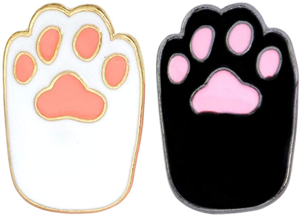 Charmart Cat Claw Lapel Pin 2 Piece Set Pet Cat Kitten Paws Enamel Brooch Pins Accessories Badges Gifts