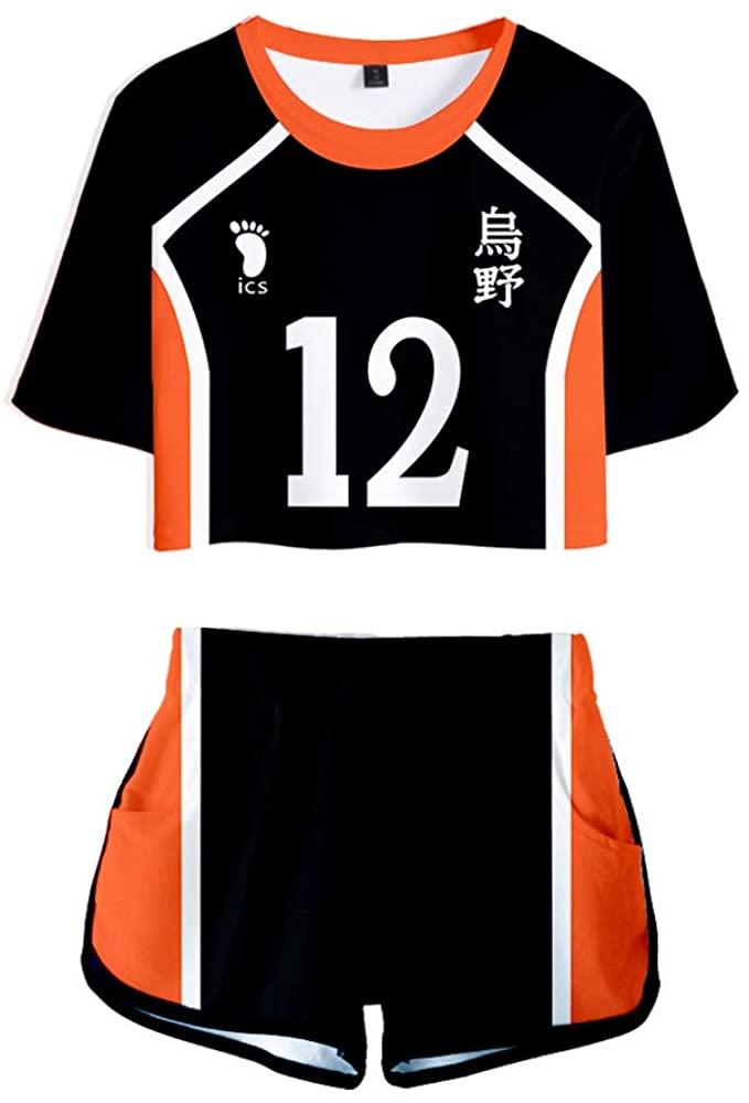 Haikyuu Karasuno High School Uniform Jersey Volleyball Cosplay Costume Mini Top Set