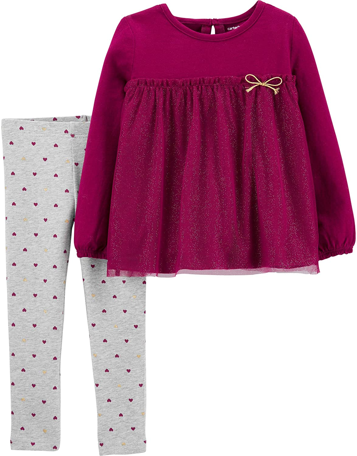 Carters Girls 2-Piece Top and Legging Set (4T, Babydoll/Heather)