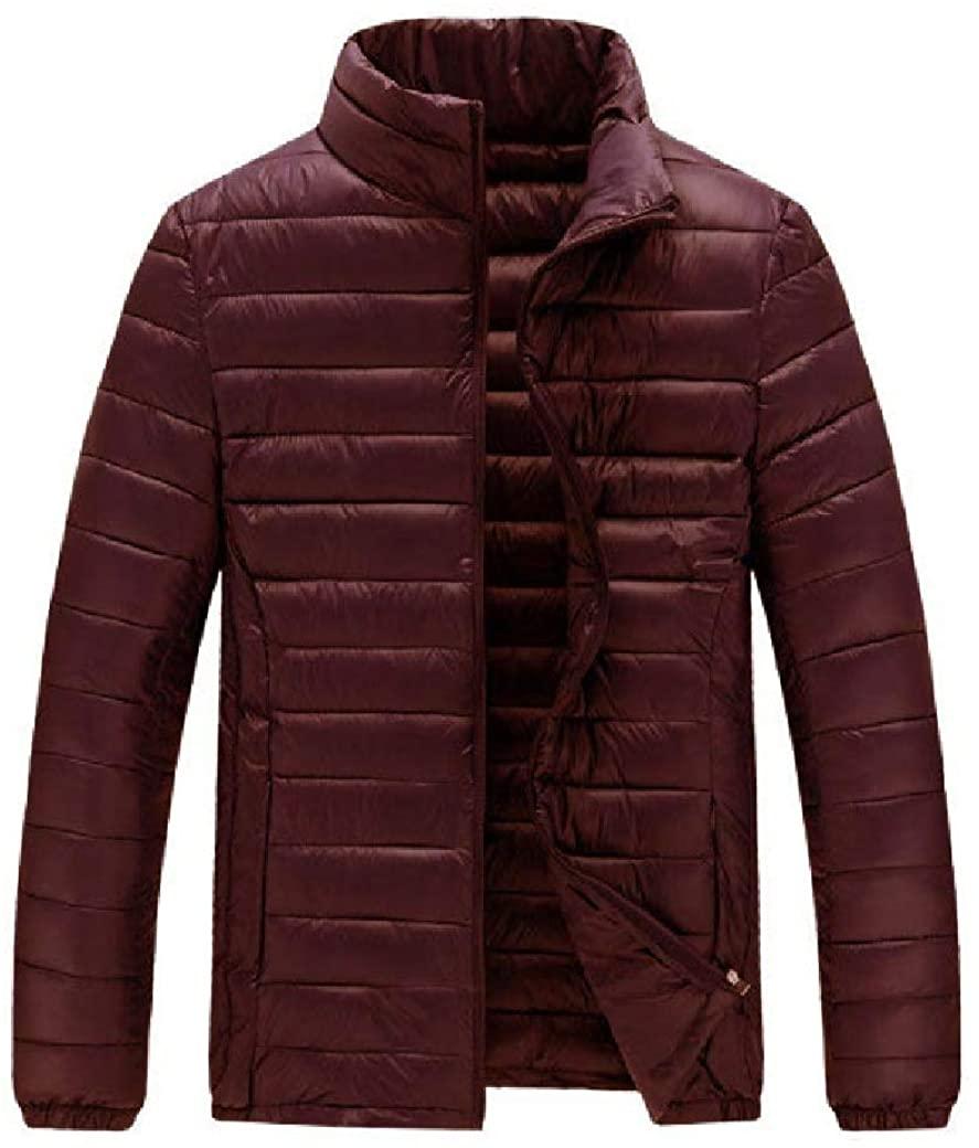 Losait Mens Warm Junior Full-Zip Brumal Stand up Collar Down Coat