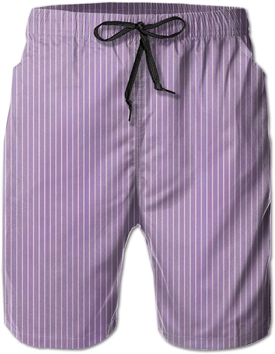 GULTMEE Men's Swim Trunks Quick Dry Beach Shorts Sweet Soft Pastel Purple Stripes with Thin White Lines Repeating Pattern L