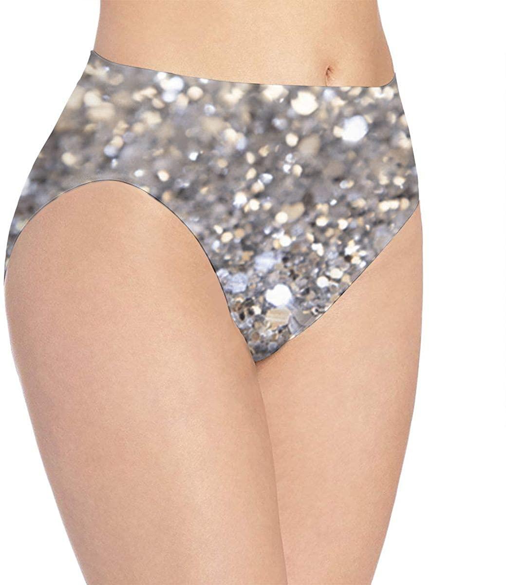 DMoMoMD Women Underwear Silver Glitter Briefs Soft Sexy Bikini Panty