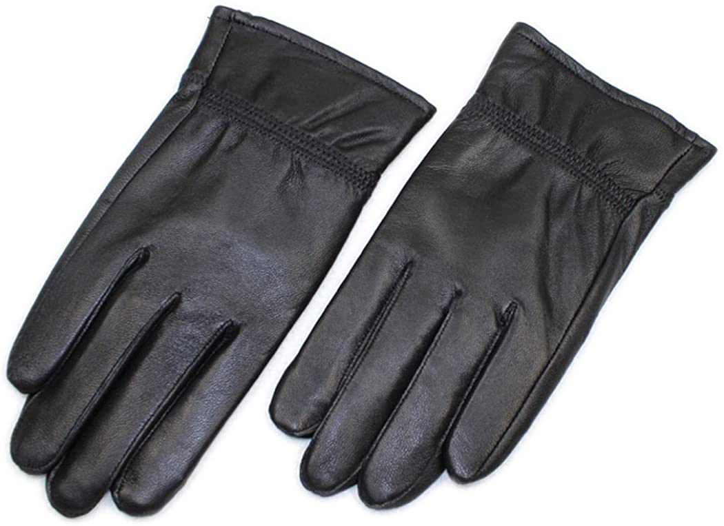 HINY Men's Black Plush Lined Outdoor Cold Weather Thick Winter Gloves
