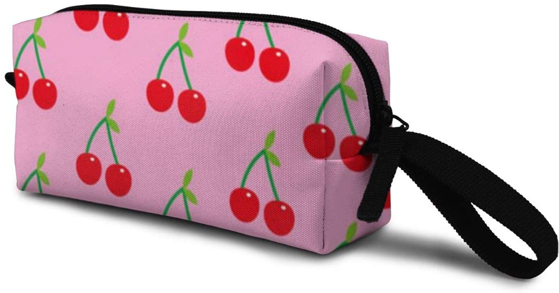 T-JH Cherry Pattern Mini Makeup Bag,Portable Cosmetic Bag,Organizer,Toiletry Handbag,Receive Bag,Storage Pouch for Women Purse