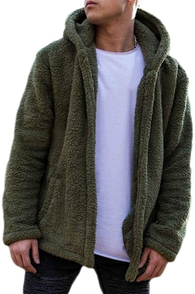 Lealac Mens Winter Casual Faux Hoodie Fuzzy Sherpa Zip Up Fleece Jacket Open Front Warm Cardigans Coat with Pockets L233-135 Green XL