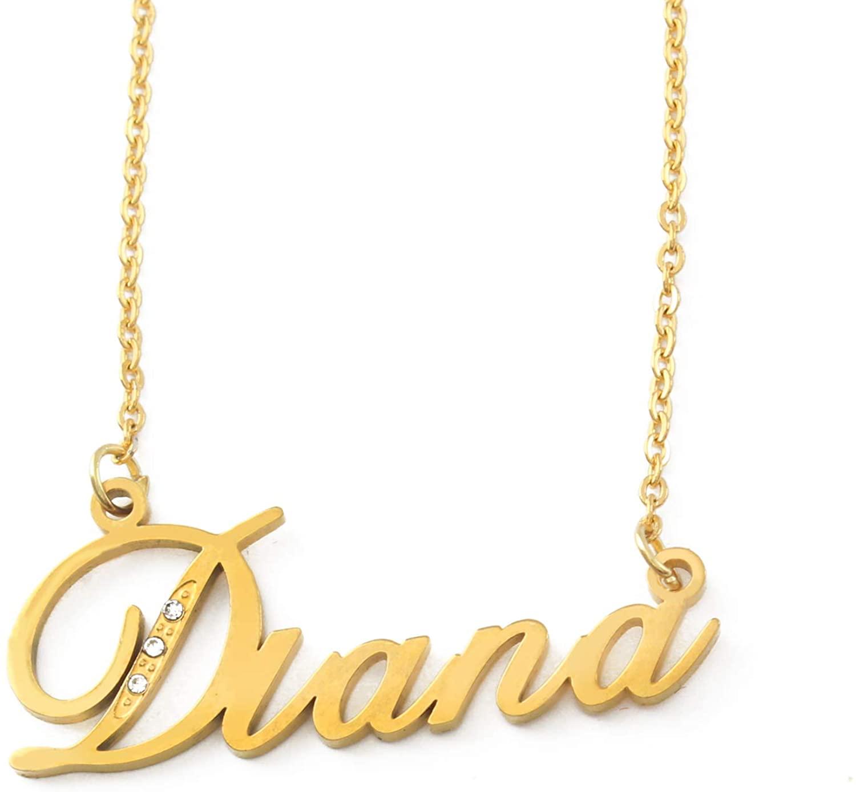 Zacria Italic Name Necklace Diana - Gold Tone Incl. Crystals