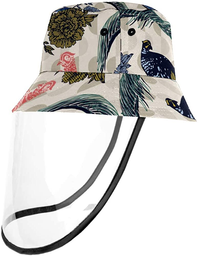 Vintage Pheasants Birds and Flowers Outdoor Fisherman Hat Summer Beach Caps for Adults